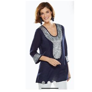 Chicos Silver Sequin Navy Tunic Size 1